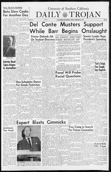 Daily Trojan, Vol. 55, No. 64, February 18, 1964