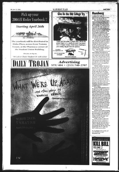 Daily Trojan, Vol. 151, No. 62, April 22, 2004