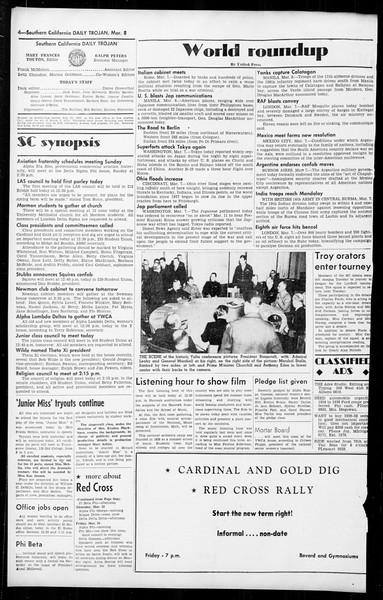 Daily Trojan, Vol. 36, No. 74, March 08, 1945