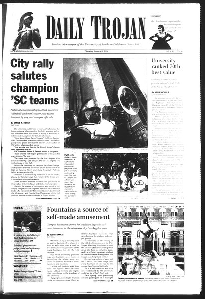 Daily Trojan, Vol. 151, No. 6, January 22, 2004