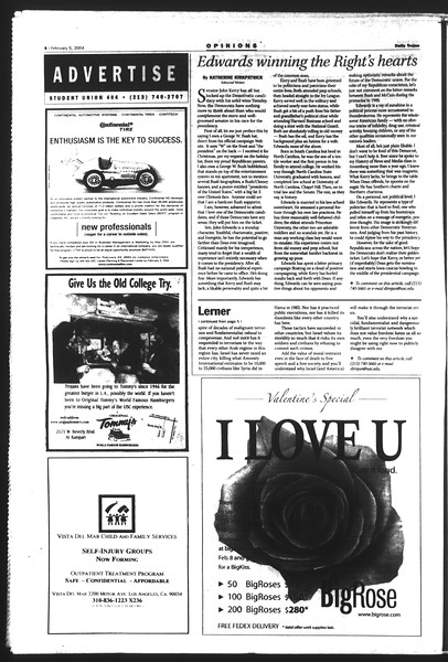 Daily Trojan, Vol. 151, No. 16, February 05, 2004