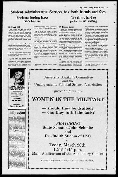 Daily Trojan, Vol. 90, No. 31, March 20, 1981