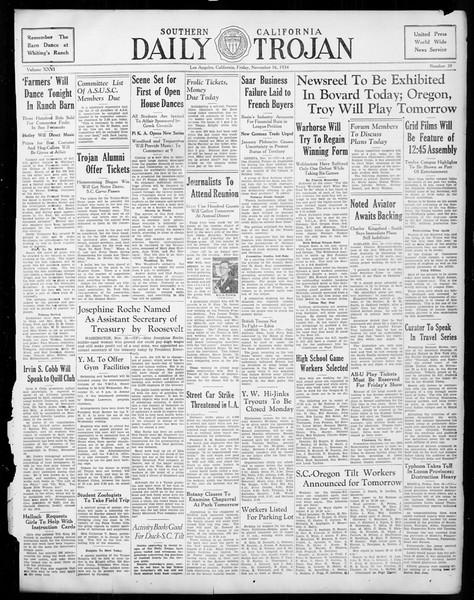 Daily Trojan, Vol. 26, No. 39, November 16, 1934