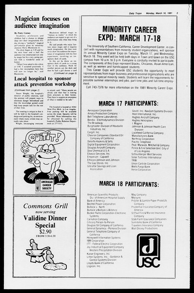 Daily Trojan, Vol. 90, No. 27, March 16, 1981
