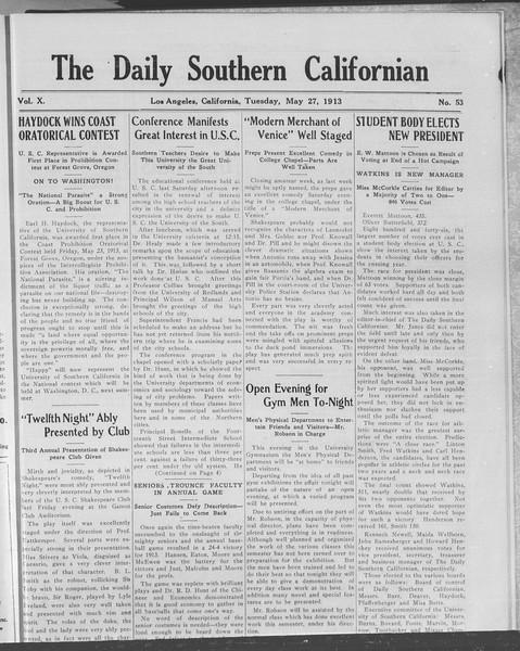 The Daily Southern Californian, Vol. 10, No. 53, May 27, 1913