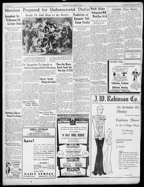 Daily Trojan, Vol. 26, No. 34, November 08, 1934