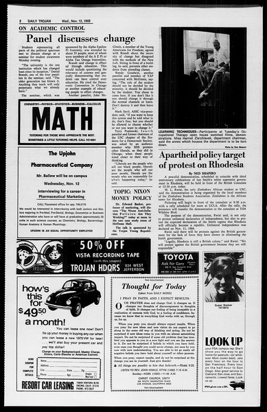 Daily Trojan, Vol. 61, No. 42, November 12, 1969