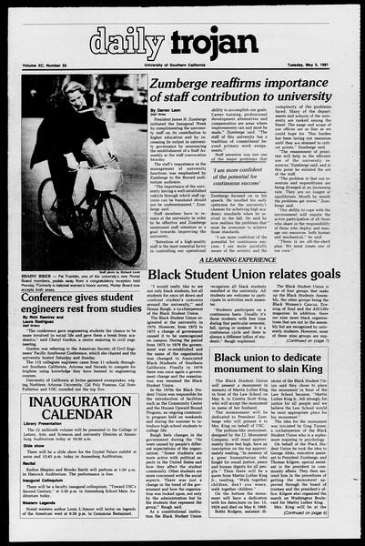 Daily Trojan, Vol. 90, No. 55, May 05, 1981