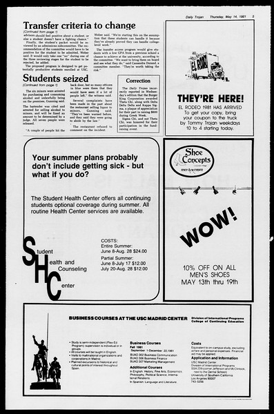 Daily Trojan, Vol. 90, No. 62?, May 14, 1981