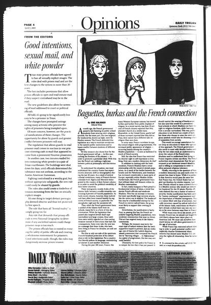 Daily Trojan, Vol. 151, No. 49, April 05, 2004