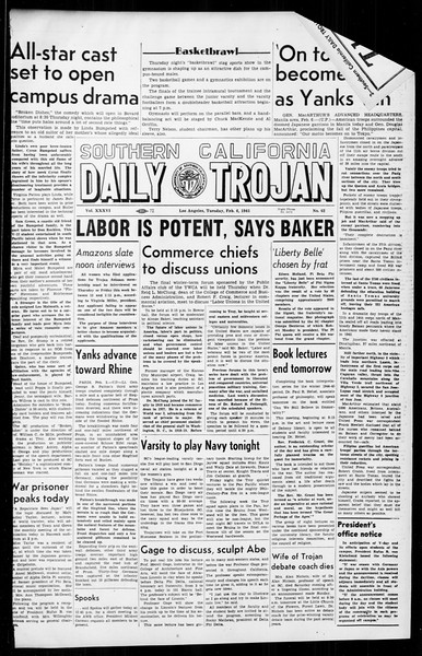 Daily Trojan, Vol. 36, No. 62, February 06, 1945
