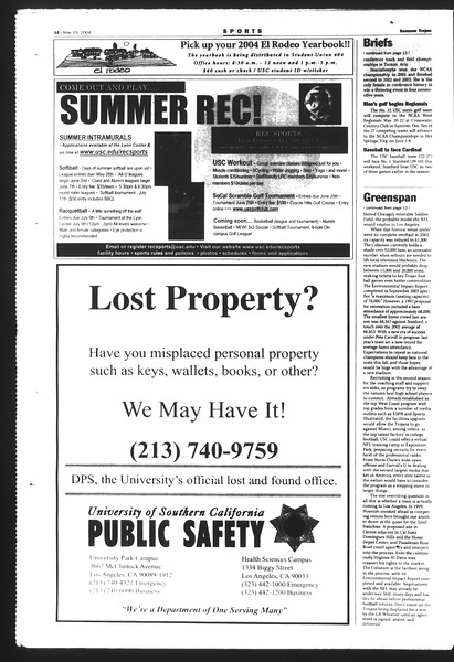 Summer Trojan, Vol. 152, No. 1, May 19, 2004
