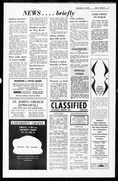 Daily Trojan, Vol. 61, No. 5, September 19, 1969
