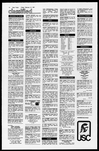 Daily Trojan, Vol. 90, No. 8, February 13, 1981