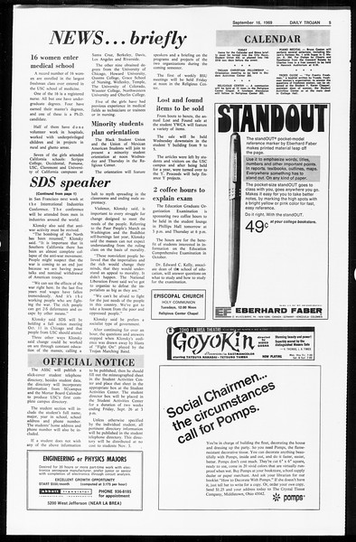 Daily Trojan, Vol. 61, No. 2, September 16, 1969