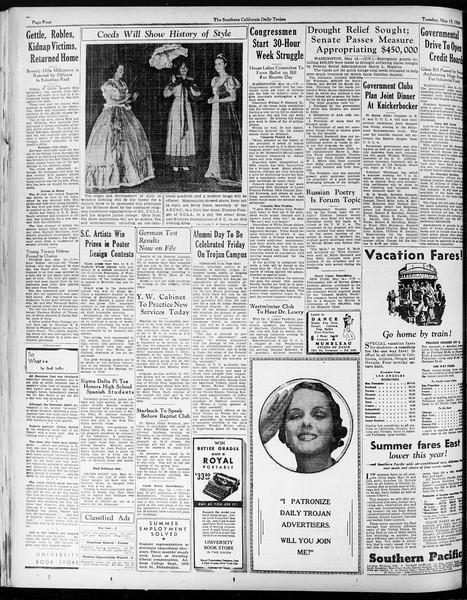 Daily Trojan, Vol. 25, No. 134, May 15, 1934