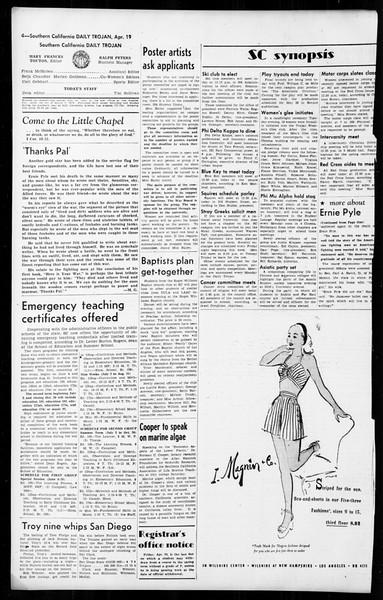 Daily Trojan, Vol. 36, No. 104, April 19, 1945
