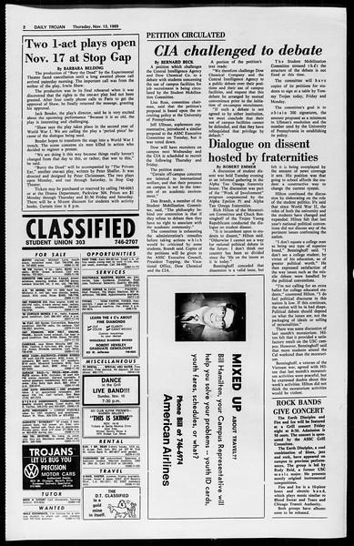 Daily Trojan, Vol. 61, No. 43, November 13, 1969