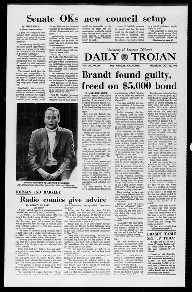 Daily Trojan, Vol. 61, No. 29, October 23, 1969