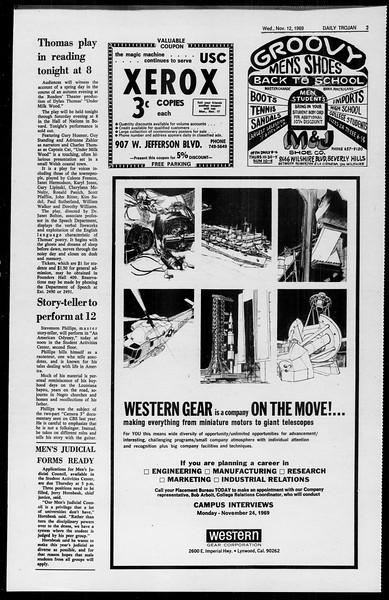 Daily Trojan, Vol. 61, No. 42, November 12, 1969