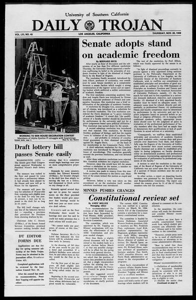 Daily Trojan, Vol. 61, No. 48, November 20, 1969