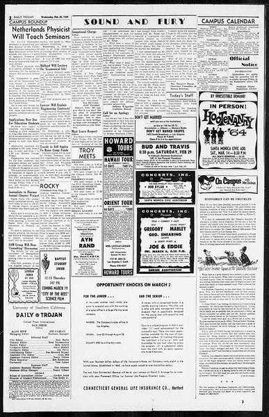Daily Trojan, Vol. 55, No. 70, February 26, 1964