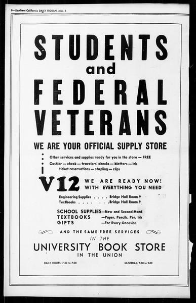 Daily Trojan, Vol. 36, No. 72, March 06, 1945