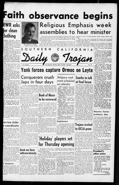 Daily Trojan, Vol. 36, No. 24, December 11, 1944