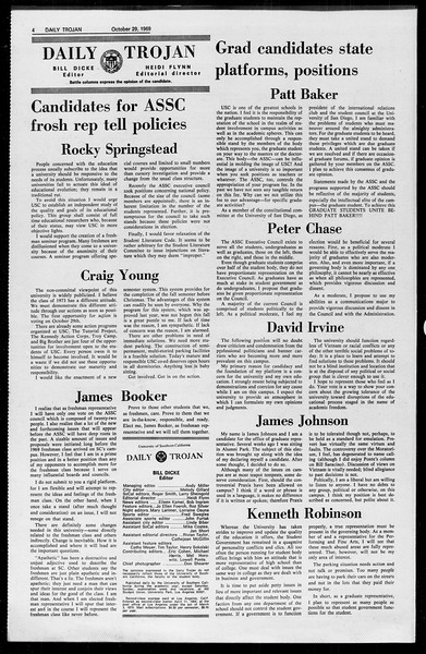 Daily Trojan, Vol. 61, No. 33, October 29, 1969