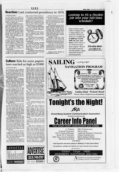 Daily Trojan, Vol. 141, No. 61, November 29, 2000