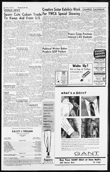 Daily Trojan, Vol. 55, No. 66, February 20, 1964