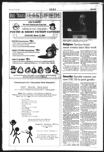 Daily Trojan, Vol. 151, No. 23, February 18, 2004