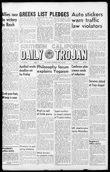 Daily Trojan, Vol. 36, No. 88, March 28, 1945