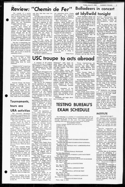 Summer Trojan, Vol. 60, No. 4, June 27, 1969
