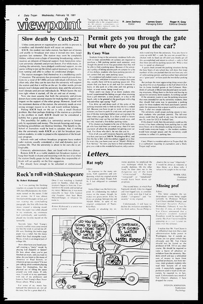 Daily Trojan, Vol. 90, No. 10, February 18, 1981
