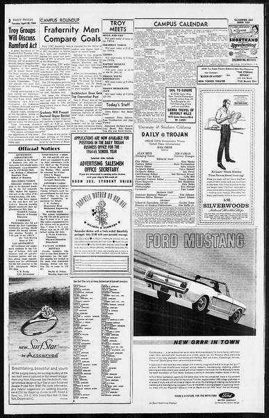 Daily Trojan, Vol. 55, No. 107, April 28, 1964