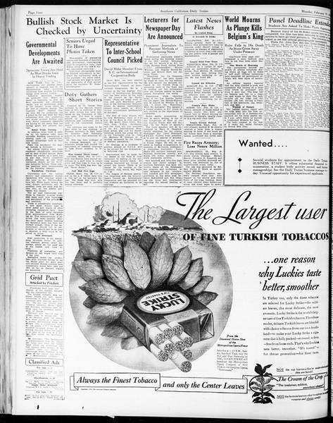 Daily Trojan, Vol. 25, No. 80, February 19, 1934