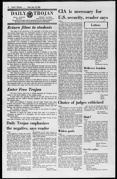 Daily Trojan, Vol. 61, No. 47, November 19, 1969