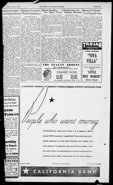 Southern California Trojan, Vol. 13, No. 12, July 27, 1934