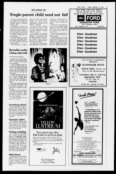 Daily Trojan, Vol. 90, No. 8, February 13, 1981