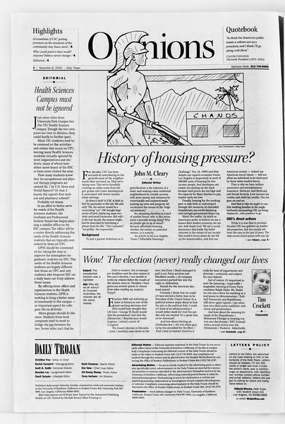 Daily Trojan, Vol. 141, No. 50, November 08, 2000