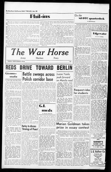 Daily Trojan, Vol. 36, No. 52, January 23, 1945