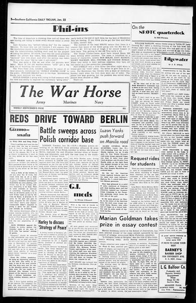 Daily Trojan, Vol. 36, No. 52, January 23, 1945