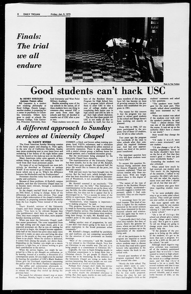 Daily Trojan, Vol. 61, No. 65, January 09, 1970