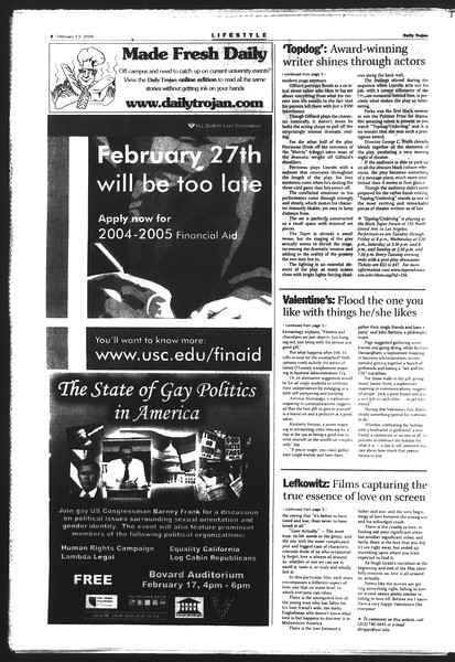 Daily Trojan, Vol. 151, No. 22, February 13, 2004