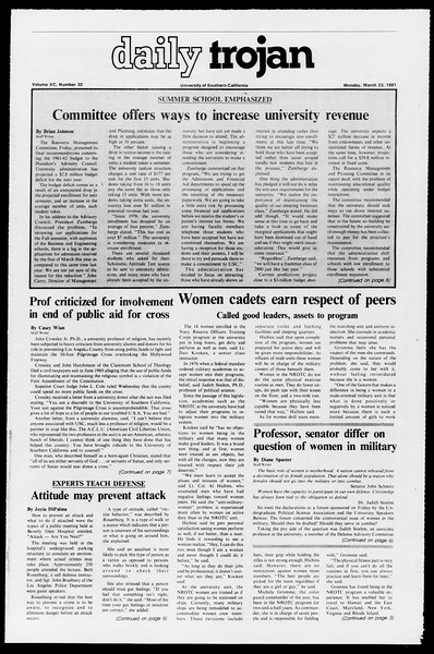 Daily Trojan, Vol. 90, No. 32, March 23, 1981