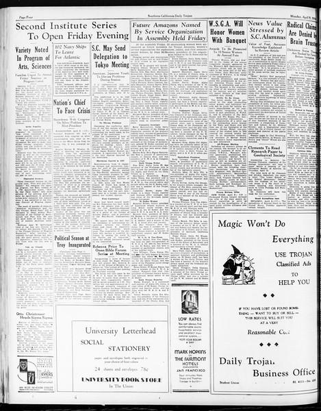 Daily Trojan, Vol. 25, No. 109, April 09, 1934