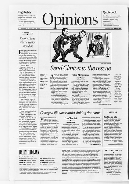 Daily Trojan, Vol. 141, No. 58, November 20, 2000