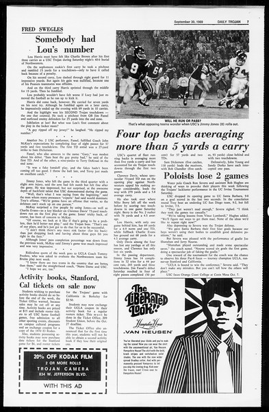 Daily Trojan, Vol. 61, No. 12, September 30, 1969