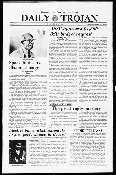 Daily Trojan, Vol. 61, No. 13, October 01, 1969